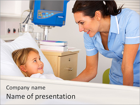 Girl At Hospital PowerPoint Template