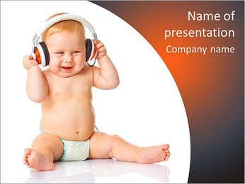 Baby In Headphone PowerPoint Template