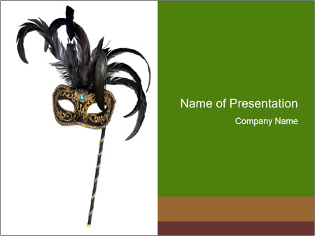 Carnival Mask with Black Feathers PowerPoint Template