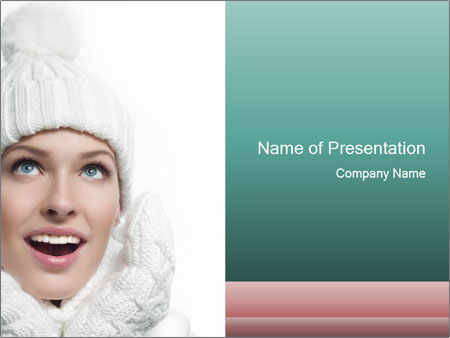 Cheerful Winter Woman PowerPoint Template