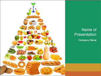 Healthy Food Forming Pyramid PowerPoint Template