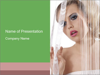 Woman Looking from White Curtain PowerPoint Template