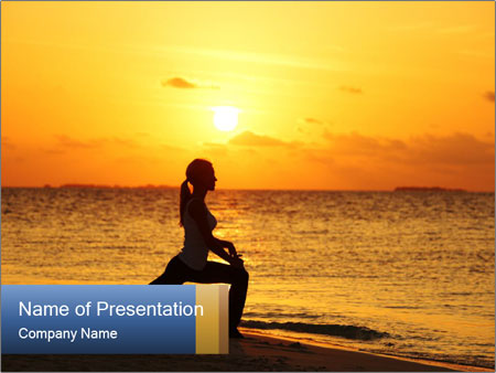 Woman Does Exercises During Sunset PowerPoint Template