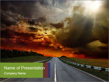 Road and Sunrise PowerPoint Template