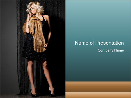 Woman Wearing Black Dress and Fur PowerPoint Template