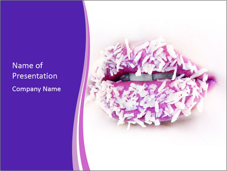 3D Coconut Lips PowerPoint Template