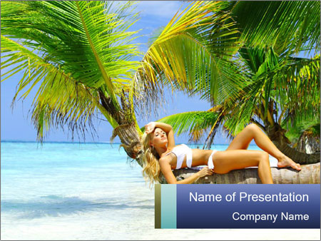 Lady Lying on Palm Tree PowerPoint Template