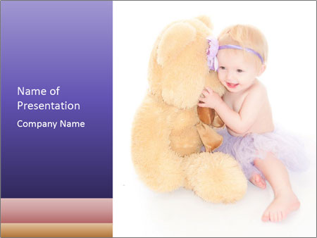 Baby Angel and Teddy Bear PowerPoint Template