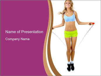 Woman with Skipping Rope PowerPoint Template