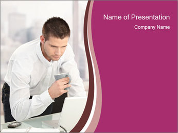 Businessman Holding Coffee Cup PowerPoint Template