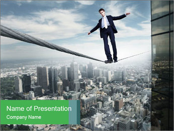 Businessman Standing on the Rope PowerPoint šablony