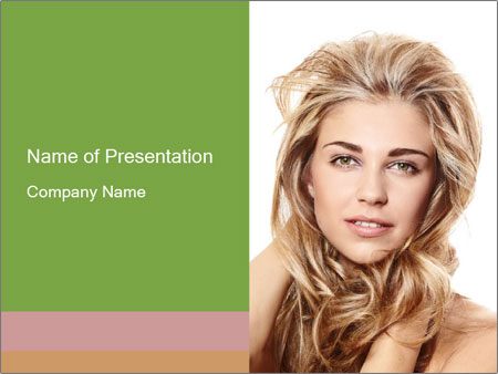 Woman with Healthy Blond Hair PowerPoint Template