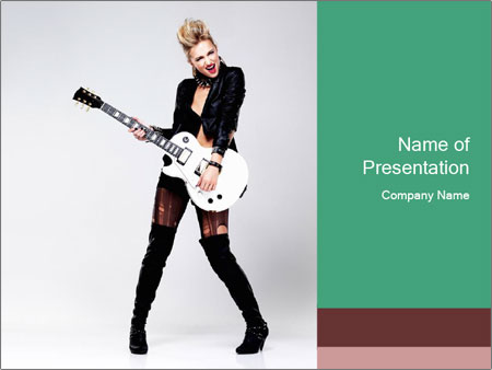 Rock Girl Playing Guitar PowerPoint Template