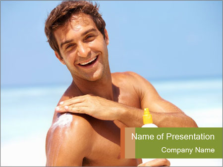 Man Applying Sun Cream PowerPoint Template