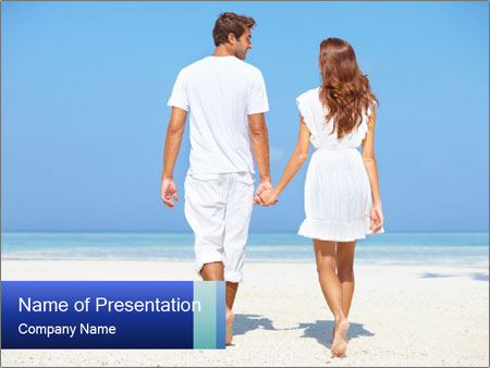 Pleasant Walk on the Beach PowerPoint Template