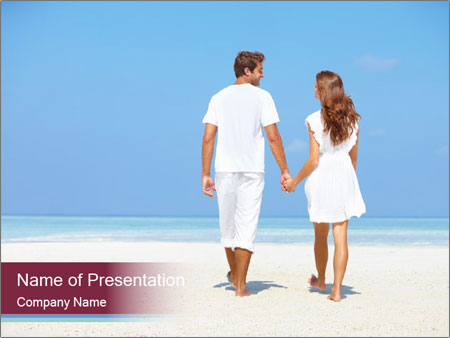 Couple Walking on Snady Beach PowerPoint Template