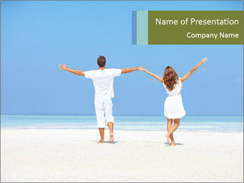 Couple Standing on White Sand PowerPoint Template