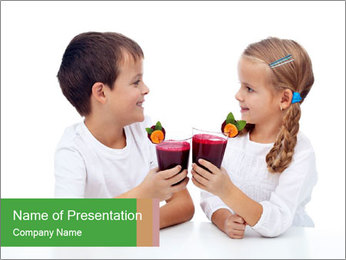 Children with Smoothie PowerPoint Template