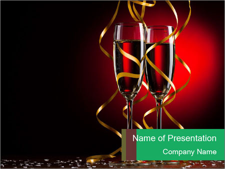 Glasses of Champagne on Red Background PowerPoint Template