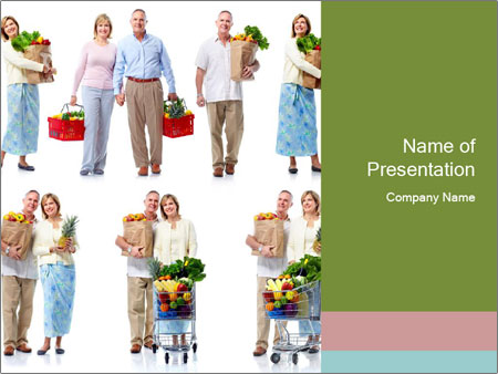 Senior Couple Goes Shopping PowerPoint Template
