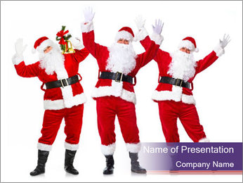 Group of Santa Clauses PowerPoint Template