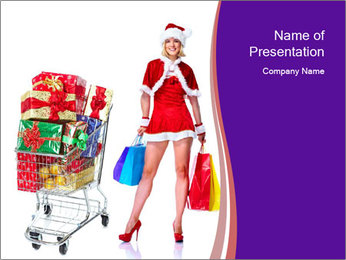 Santa Lady Goes Shopping PowerPoint Template