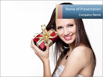 Lady Holding Christmas Box PowerPoint Template