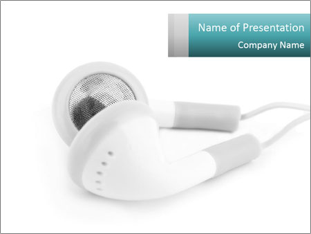 White Ear Buds PowerPoint Template