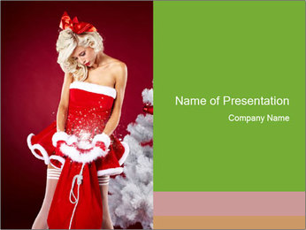 Pi-up Girl Dressed in Christmas Costume Szablony prezentacji PowerPoint