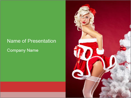 Christmas Pinup Girl PowerPoint Template