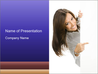 Businesswoman with Ads Board PowerPoint Template