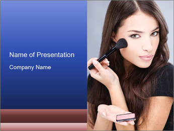 Woman Applies Rouge PowerPoint Template