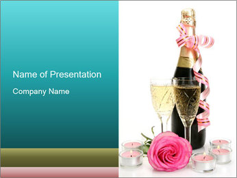 Festive Bottle of Champagne PowerPoint Template