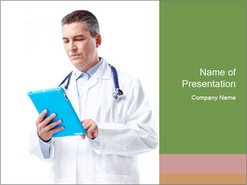 Doctor Holding Blue Clipboard PowerPoint Template