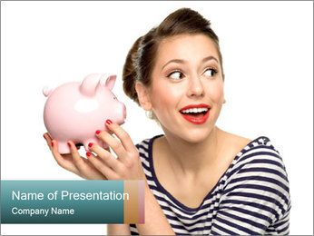 Lady with Piggy Bank PowerPoint Template
