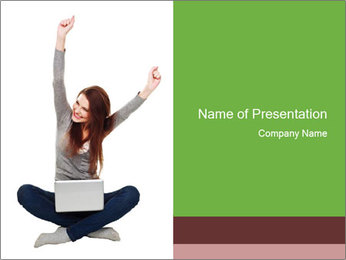 Happy Student with Netbook PowerPoint Template