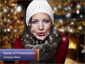 Woman with Christmas Mood PowerPoint Template