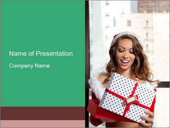 Girlfriend with Gift Box PowerPoint Template
