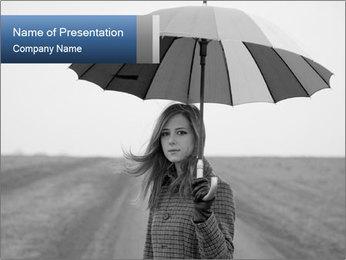Ukrainian Girl with Umbrella PowerPoint Template