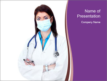 Woman Pharmacist in Mask PowerPoint Template