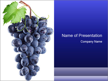 Grapes on White Background PowerPoint Template