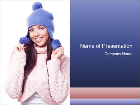 Woman in Blue Winter Hat PowerPoint Template