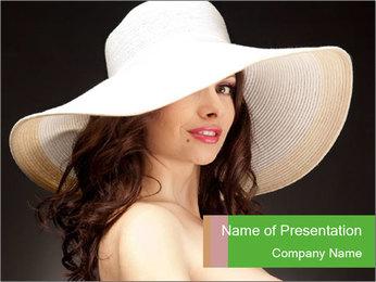 Pretty Lady Wearing Hat PowerPoint Template