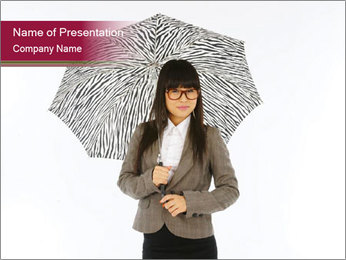 Chinese Lady with Umbrella PowerPoint Template
