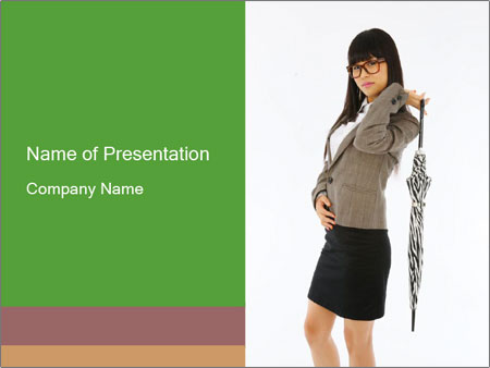 Japanese Girl with Umbrella PowerPoint Template