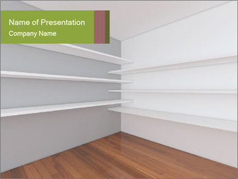 Shelves on White Walls PowerPoint Template