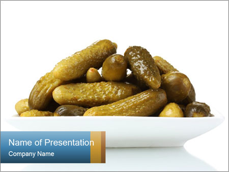 Cucumbers in Marinate PowerPoint Template
