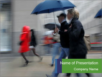 People with Umbrellas Walking on the Street PowerPoint Template