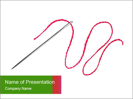 Wavy Red Thread in Needle PowerPoint Template & Infographics Slides
