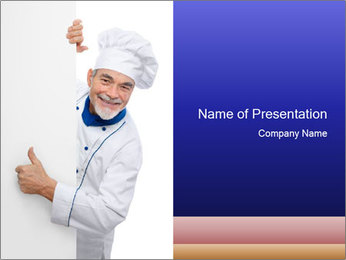 Chef Cook Behind White Board PowerPoint Template